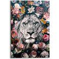 reinders! artprint leeuw bloemenkrans - planten - in vrolijke kleuren (1 stuk) multicolor