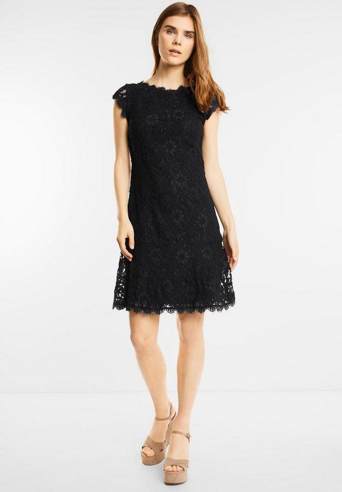 Street One jurk met bloemenkant Rania zwart