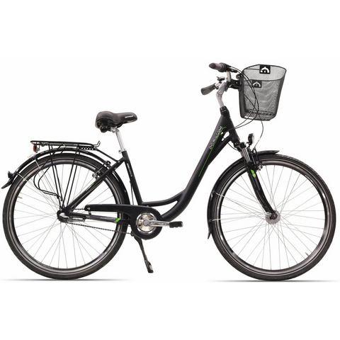 Hawk Green Energy citybike met mand, 26 & 28 inch, Shimano 7 versn., terugtraprem, City Wave