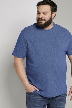 tom tailor men plus t-shirt »t-shirt mit struktur-print« blauw