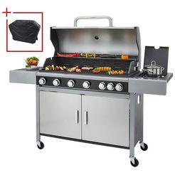 konifera gasbarbecue »6-brenner« bxdxh: 161,5x57x111 cm, met draaispit zilver