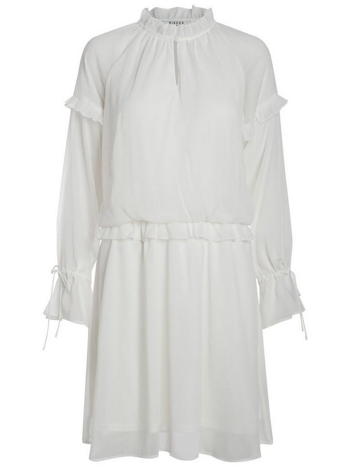 Pieces Lange mouw ruche jurk wit