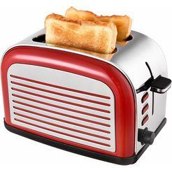 team-kalorik toaster tkg to 2500 r, voor 2 sneetjes brood, 1050 w rood