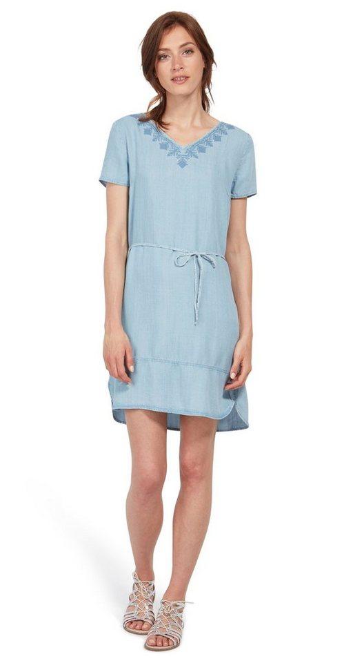 Tom Tailor jurk Jeanskleid mit Stickerei blauw
