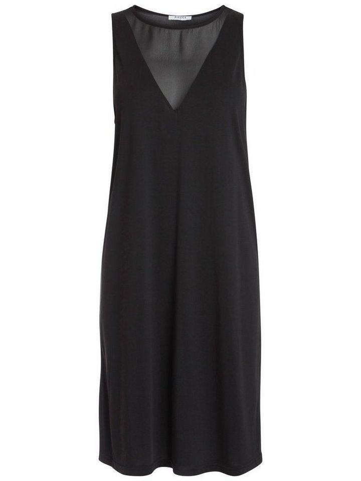 Pieces Mouwloze mesh jurk zwart