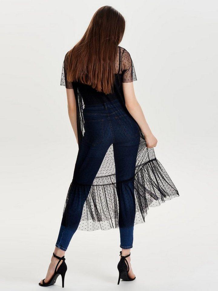 NU 21% KORTING: ONLY Mesh jurk met korte mouwen zwart