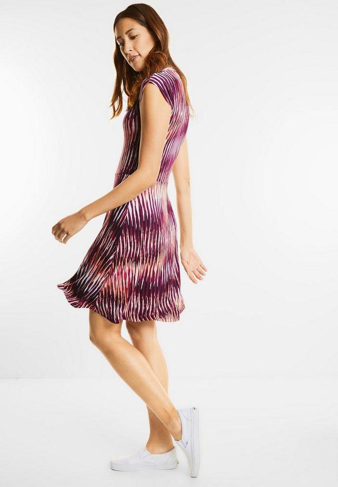 Street One Gestreepte jurk met V-hals van jersey paars