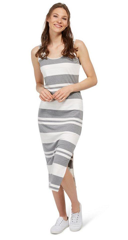 Tom Tailor jurk Gestreepte maxi-jurk grijs