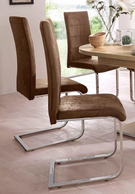 Home affaire vrijdragende stoel Cosy Overtrokken met robuuste microvezel, verchroomd metalen frame (set, 2 stuks) nu online bestellen
