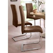 vrijdragende stoel cosy overtrokken met robuuste microvezel, verchroomd metalen frame (set, 2 stuks) bruin