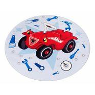 vloerkleed voor de kinderkamer, »bobby car 102«, bobby car, rond, hoogte 6 mm, print rood