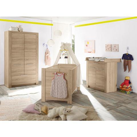Slaapkamer Hamburg babyledikantje + babycommode + 2-deurs garderobekast, (3-dlg.), imtiatie-eiken