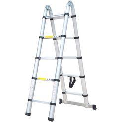 telescoop-hoekrek »aluminium klapladder en ladder«, 2 x 1,9 m (totaal 3,8 m) zilver