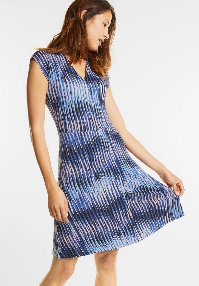 Street One Gestreepte jurk met V-hals van jersey blauw