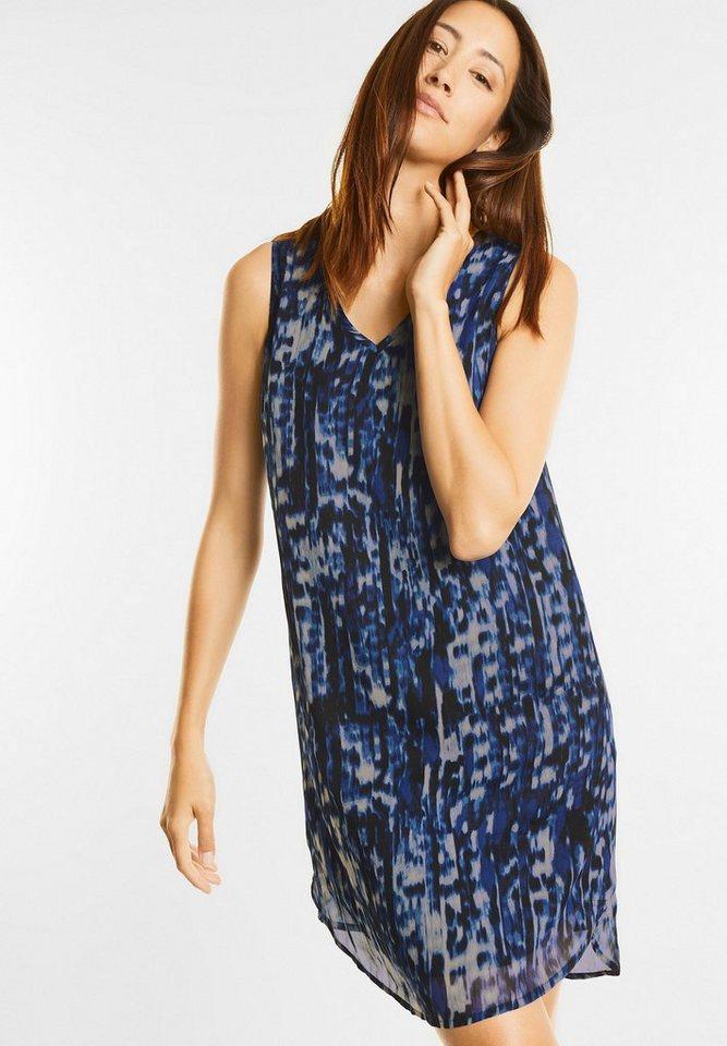 NU 21% KORTING: Street One jurk met dubbele V-hals blauw