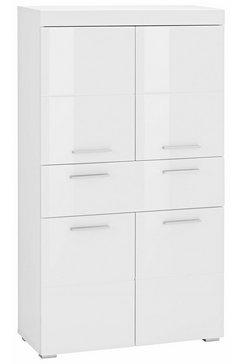trendteam halfhoge kast amanda breedte 73 cm, badkamerkast met 1 grote lade en 4 deuren, mdf-fronten in hoogglans- of hout-look wit