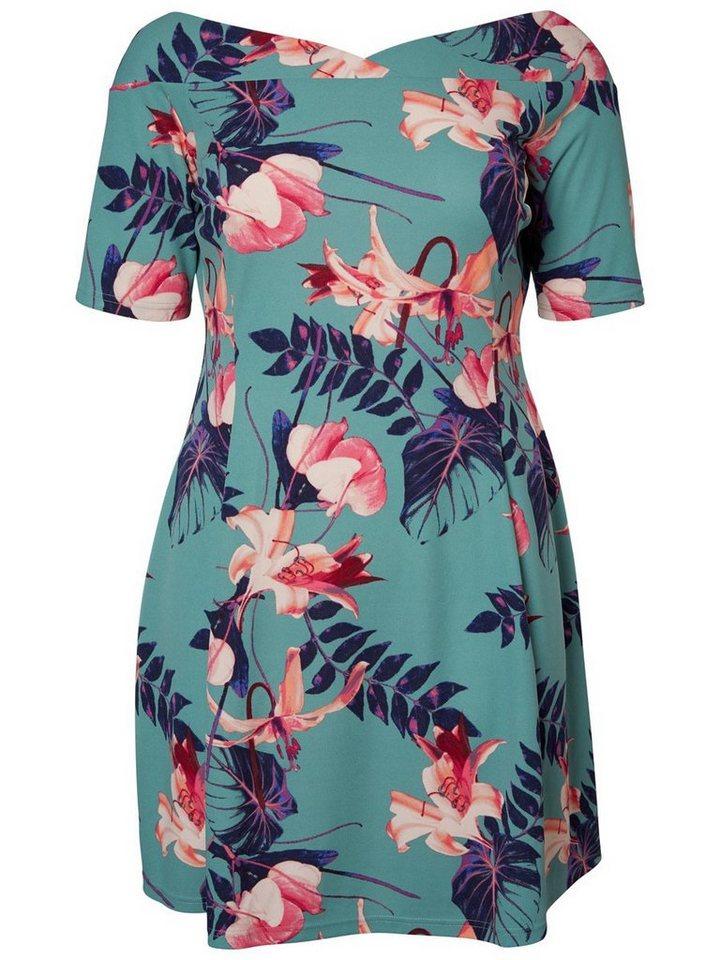 Junarose 1/2-mouwen jurk blauw