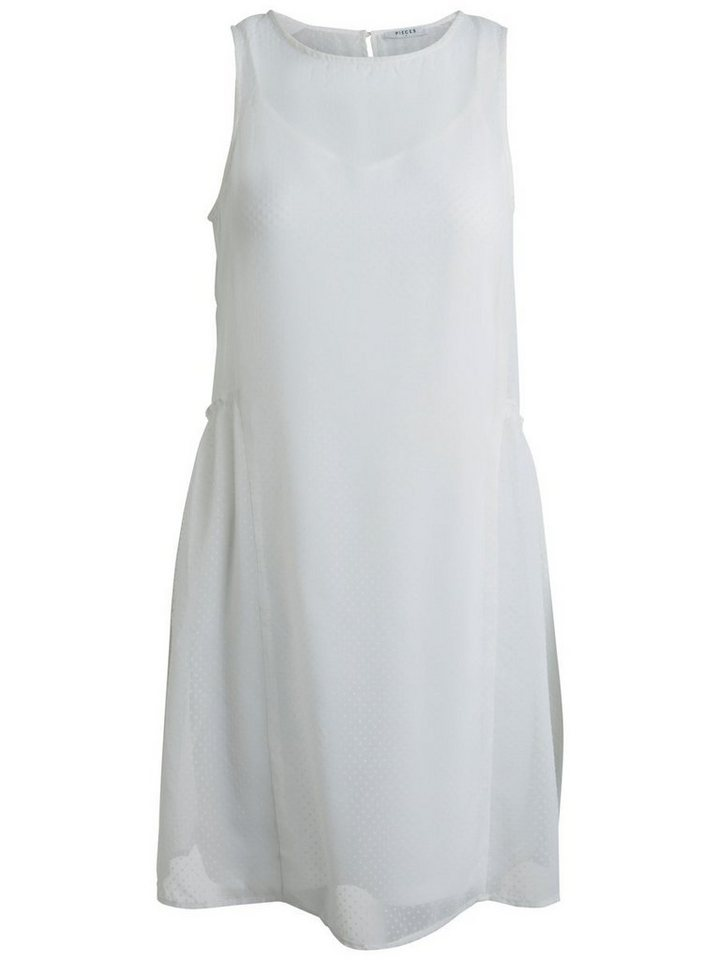 Pieces Mouwloze mesh jurk wit