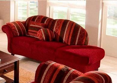 woonkamer chaise longues rood Recamier armleuning links Structuurstof