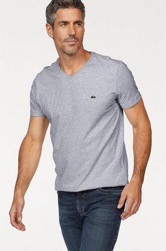 lacoste shirt met v-hals van puur katoen grijs