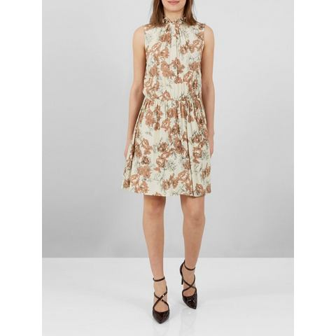 Y.A.S High-neck mouwloze bloemenprint Mini jurk beige