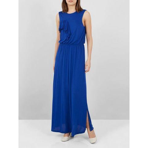 Y.A.S Volant Maxi jurk blauw