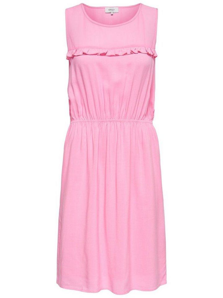 ONLY Ruche Mouwloze jurk roze