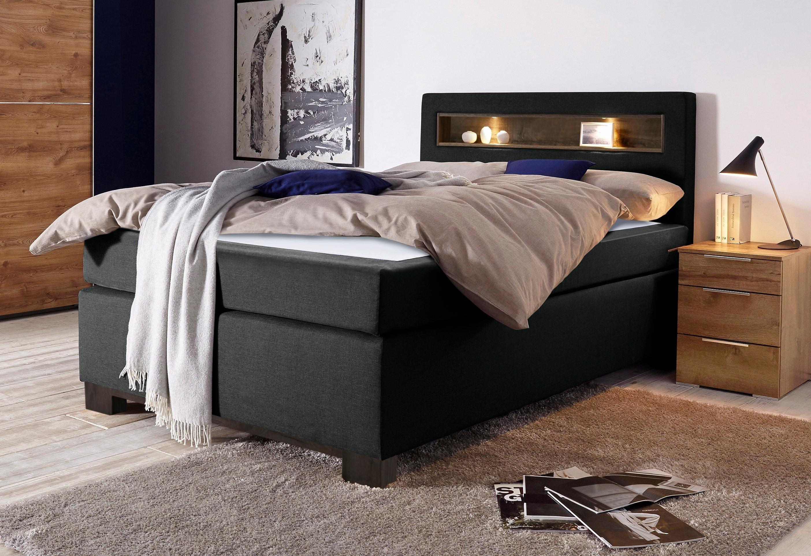 bruno banani boxspring met houtinzet en led lampen in het hoofdbord online verkrijgbaar otto. Black Bedroom Furniture Sets. Home Design Ideas