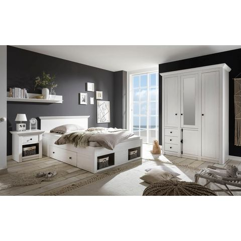 HOME AFFAIRE slaapkamerserie California klein, bed 140 cm, 1 nachtkastje en 3-deurs garderobekast