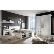 home affaire slaapkamerserie california klein, bed 140 cm, 1 nachtkastje en 3-deurs kledingkast (set, 3 stuks) wit