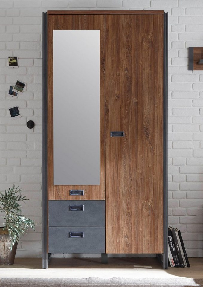 HOME AFFAIRE garderobekast Detroit, naar keuze 2-, 3-, of 5-deurs, in industriële look