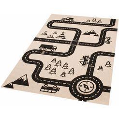vloerkleed voor de kinderkamer, »road map charly«, zala living, rechthoekig, h 4 mm, mach. geweven beige