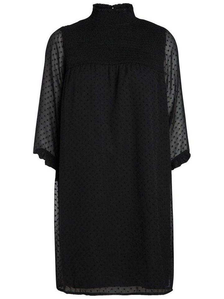NU 21% KORTING: Pieces 3/4-mouw mesh jurk zwart