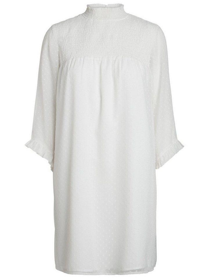 Pieces 3/4-mouw mesh jurk wit