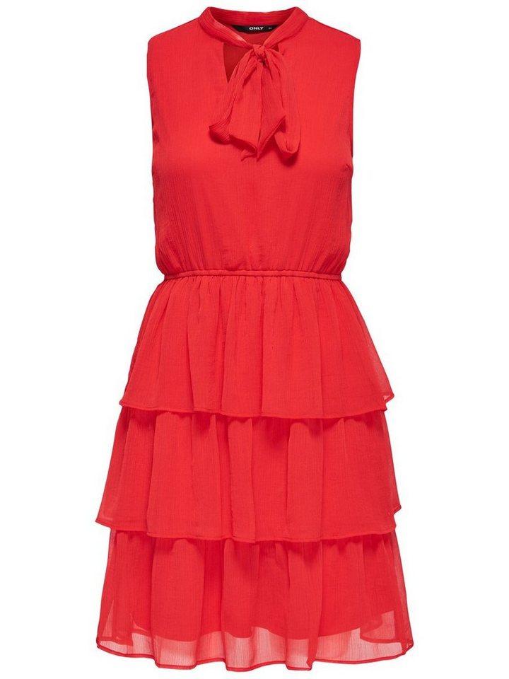 ONLY Ruche Mouwloze jurk rood