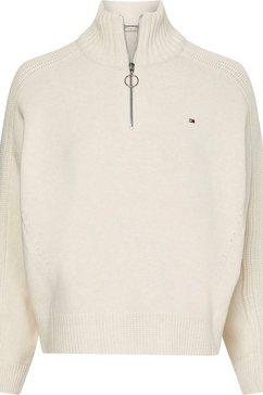 tommy hilfiger trui met staande kraag »zip-up high-nk swt ls« wit