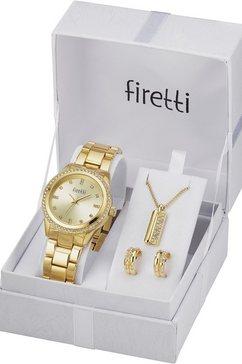 firetti kwartshorloge inclusief oorstekers en ketting met hanger (set, 4-delig) goud