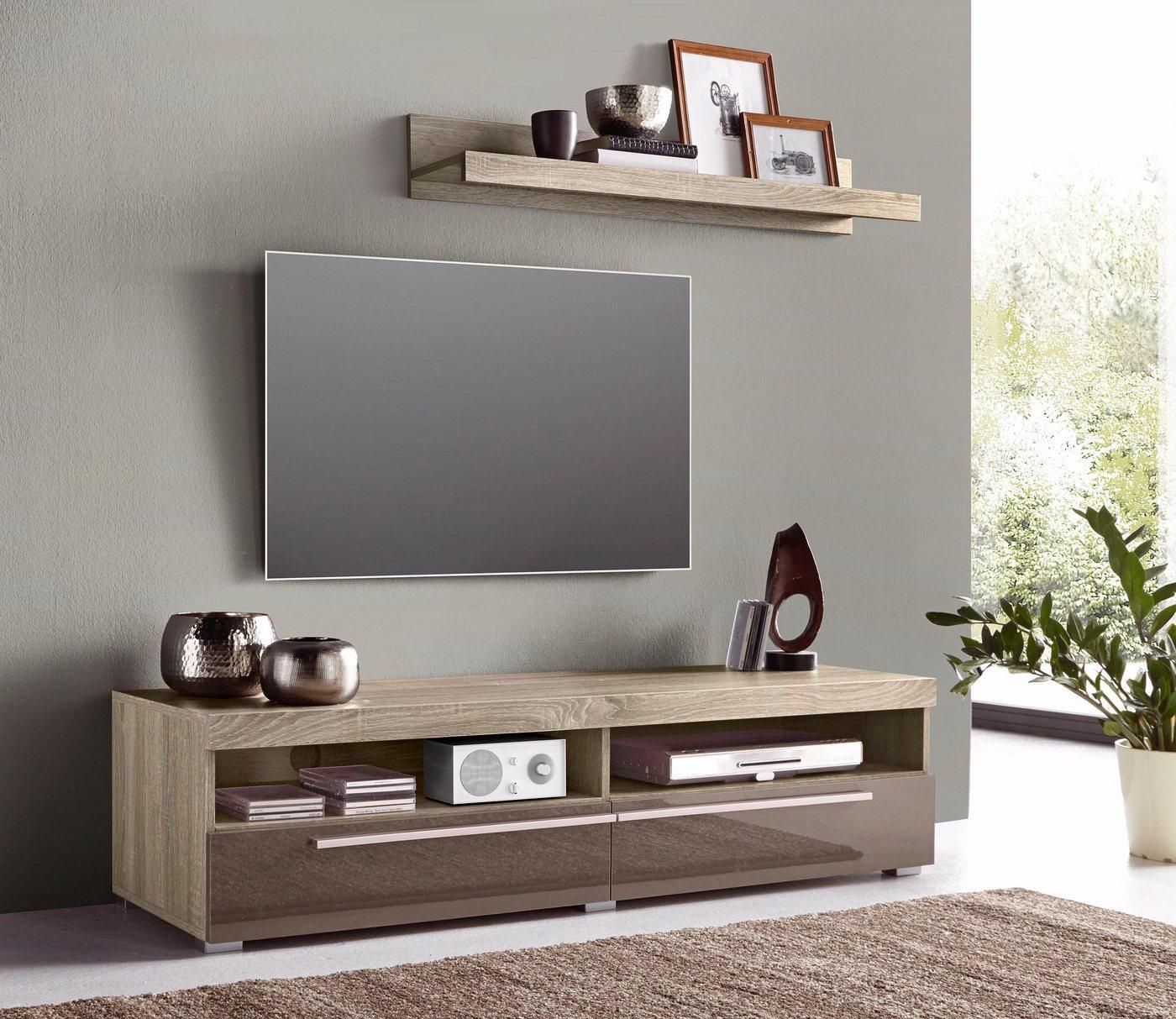 TV-meubel met wandrek, breedte 140 cm