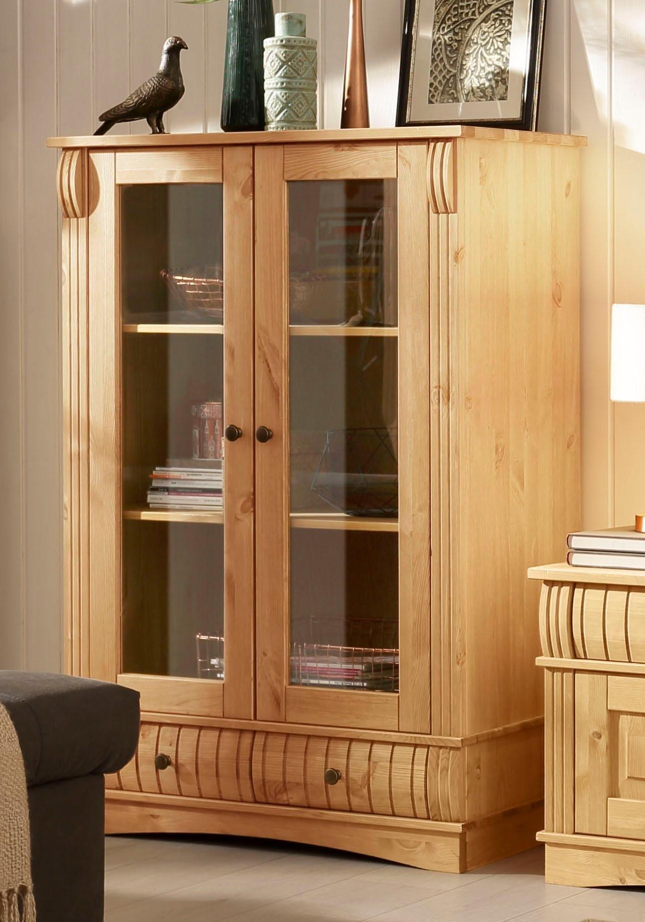 Home affaire vitrinekast »Teresa«, met 2 glasdeuren en 2 laden, hoogte 120 cm - verschillende betaalmethodes