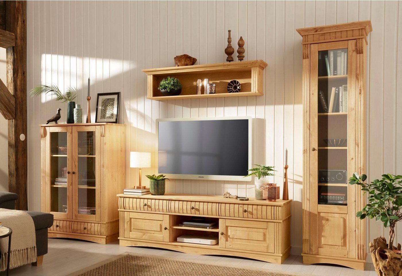 HOME AFFAIRE 3-delig wandmeubel Teresa: 1 vitrinekast klein, 1 vitrinekast groot, 1 TV-meubel