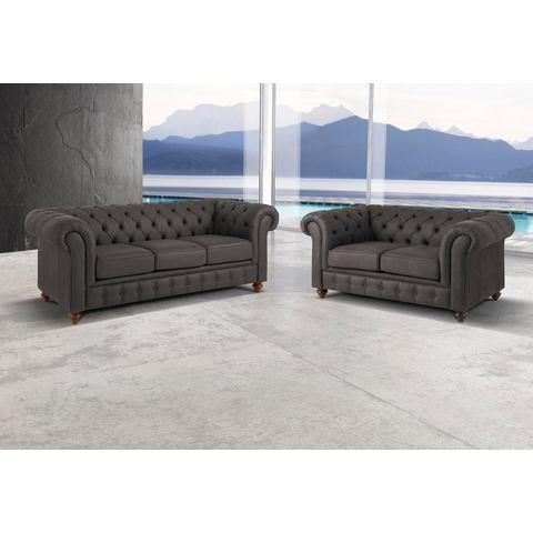 Premium collection by Home affaire set Chesterfield, 3-zitsbank en 2-zitsbank