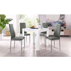eethoek, met tafel in wit, breedte 80 cm (5-delig) wit