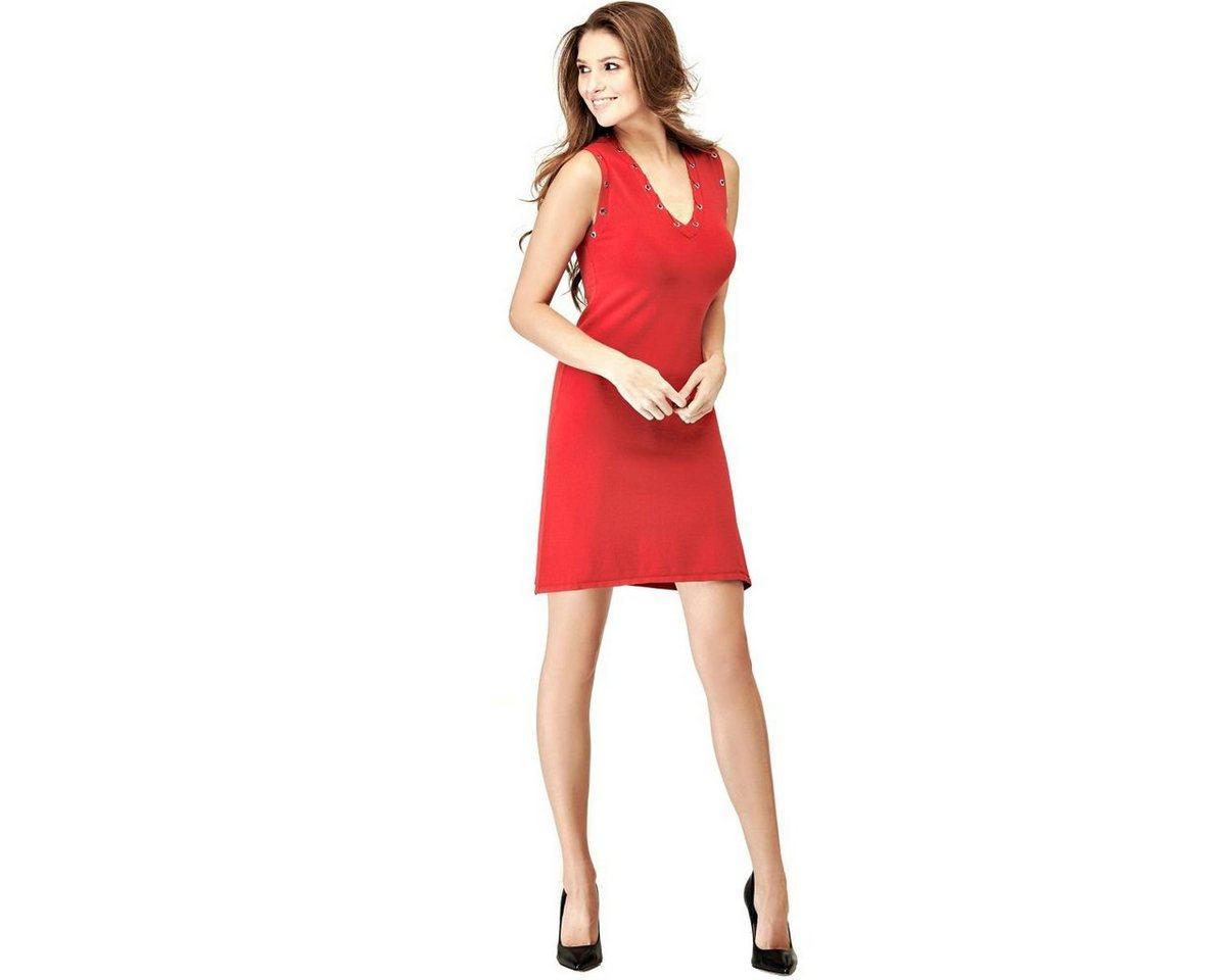 Guess jurk in viscosemix met bloemmotief rood