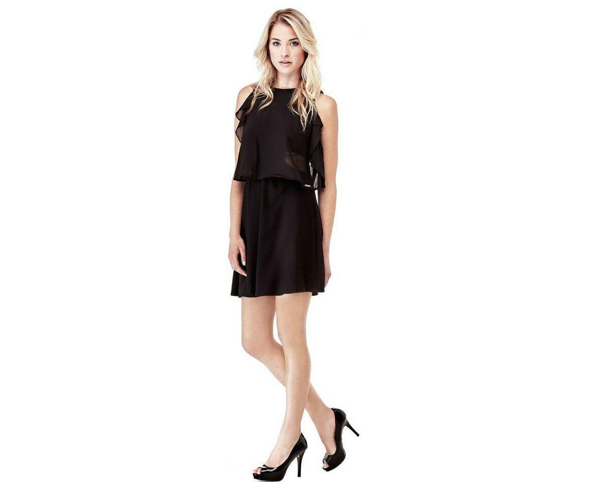 Guess jurk van soepelvallende stof met volants zwart