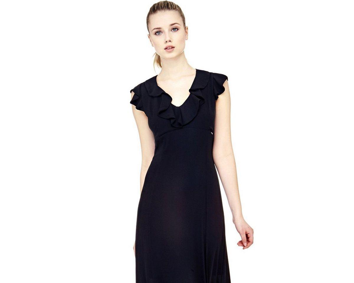 Guess jurk met hals voorzien van volant zwart