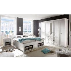 home affaire slaapkamerserie «california» groot: bed 180 cm, 2 nachtkastjes, 5-deurs garderobekast wit