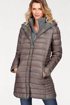 aniston selected doorgestikte jas met capuchon en staande kraag bruin
