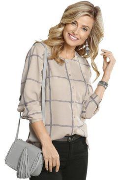 classic basics blouse met populair ruitmotief bruin