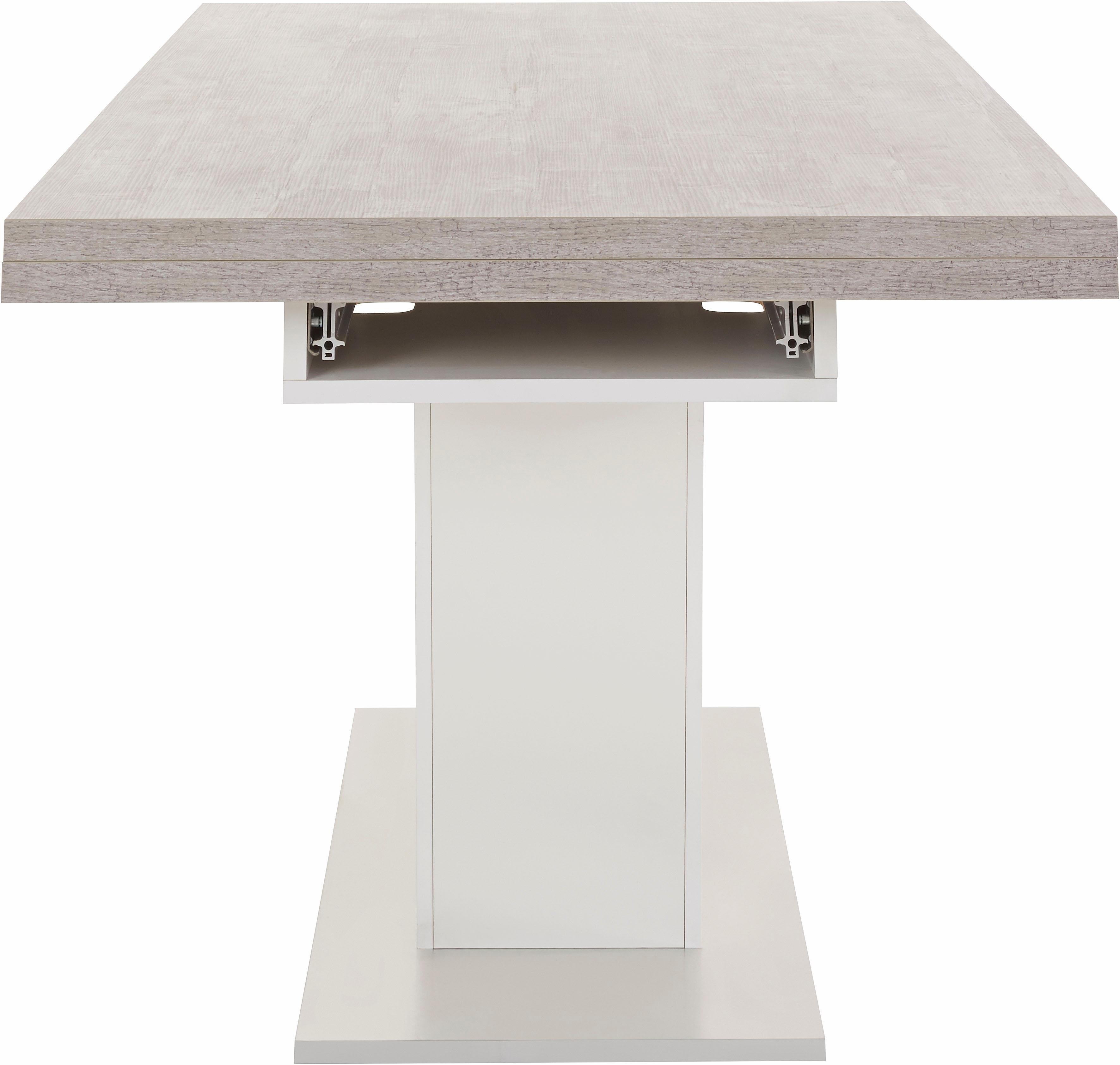 Eettafel op zuil in V-model met uittrekfunctie, grondbreedte 180 cm ...