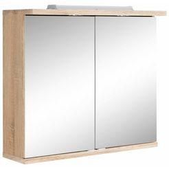 homexperts spiegelkast nusa breedte 80 cm, met ledverlichting en schakelaar-stopcontactbox, achter de spiegeldeuren praktische legplanken beige